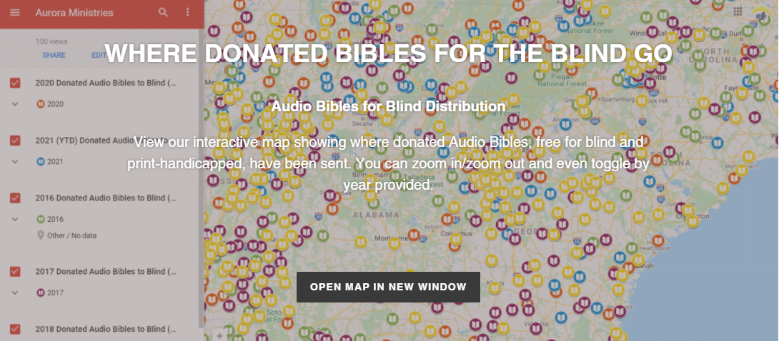 view interactive google map showing donated bibles to the blind distribution