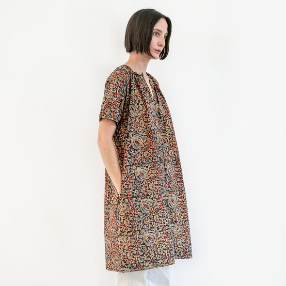 Kalamkari Dress / Tunic - Maroon Multi Floral