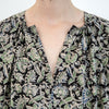 Kalamkari Dress / Tunic - Black and Pistachio Floral