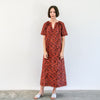 Kalamkari Long Belted Dress - Red, Indigo, Yellow Vines
