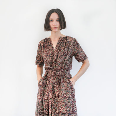 Kalamkari Long Belted Dress - Red, Pistachio, and Indigo Floral
