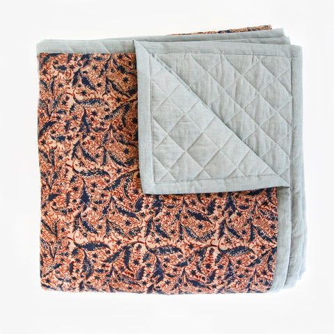 Kalamkari Quilted Blanket - Blue Leaves