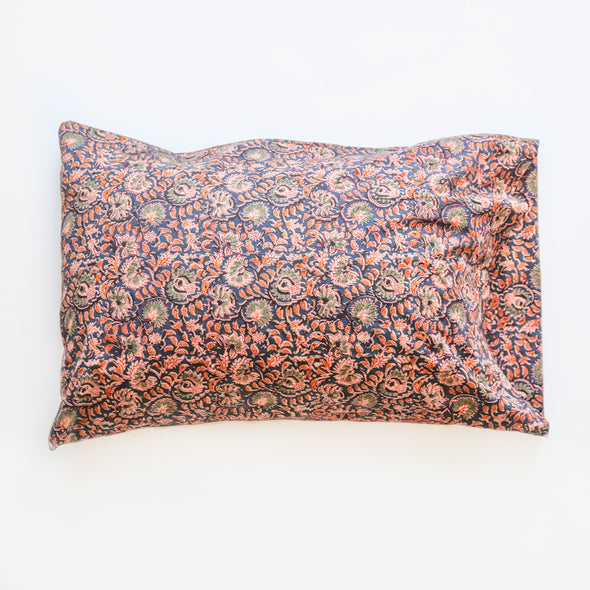Kalamkari Pillowcase - Pistachio and Indigo Floral