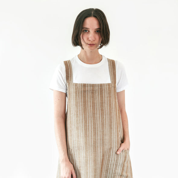Linen / Cotton Small Ticking Crossback Apron
