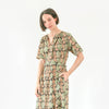 Kalamkari Long Belted Dress - Black, Green, and Yellow Floral