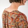 Kalamkari Dress / Tunic - Red, Indigo, and Yellow Floral