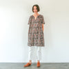 Kalamkari Dress / Tunic - Black, Indigo, and Red Leaves