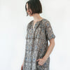 Kalamkari Long Belted Dress - Dark Grey and Blue Floral