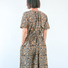 Kalamkari Long Belted Dress - Black, Indigo, and Yellow Floral