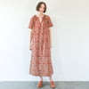 Kalamkari Long Belted Dress - Red, Indigo, Yellow Floral