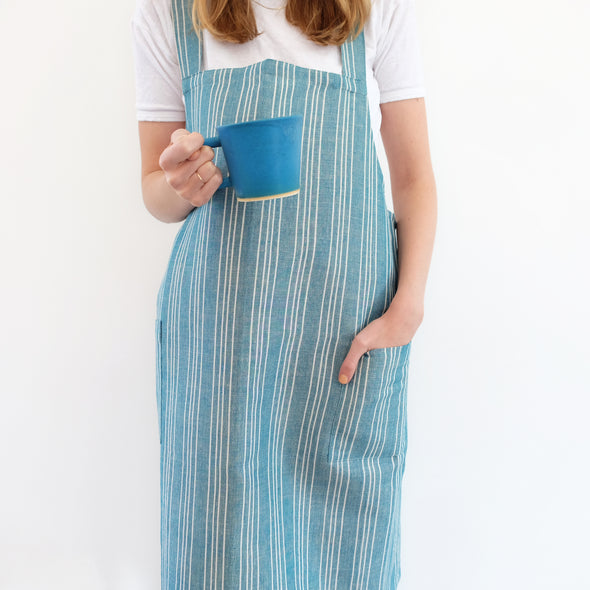 Linen / Cotton Small Ticking Crossback Apron Teal