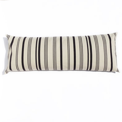 "Cotton Stripe 48"" Bolster - Black and Cream Stripe"