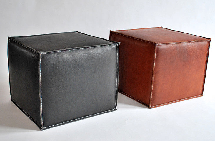 Luggage Leather Pouf