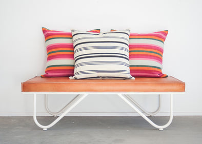 Cotton Stripe Pillows - Pink, Orange, and Olive Stripe