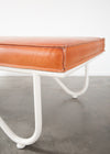 Upholstered Saddle Leather Lobby Bench