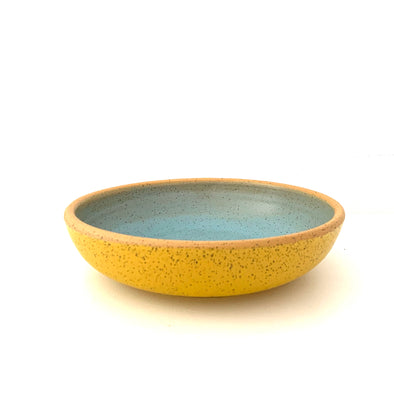 "Alexandria Cummings: 9"" x 2"" Two Tone Low Bowl with Foot"
