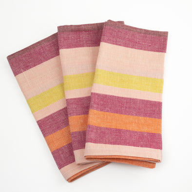 Linen / Cotton Pink Multi Stripe Napkins, Set of 4