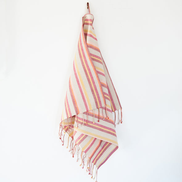 Linen / Cotton Mini Burgundy Stripe Hand Towel