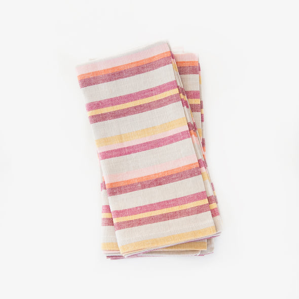 Linen / Cotton Mini Burgundy Stripe Napkins, Set of 4