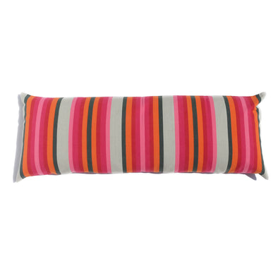 "Cotton Stripe 48"" Bolster - Pink, Orange, and Olive Stripe"