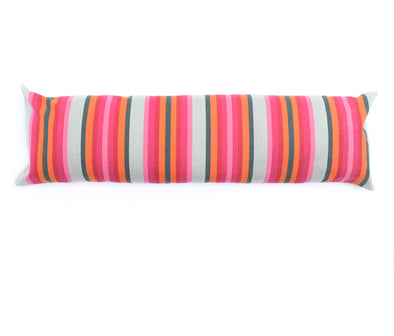 "Cotton Stripe 60"" Bolster - Pink, Orange, and Olive Stripe"