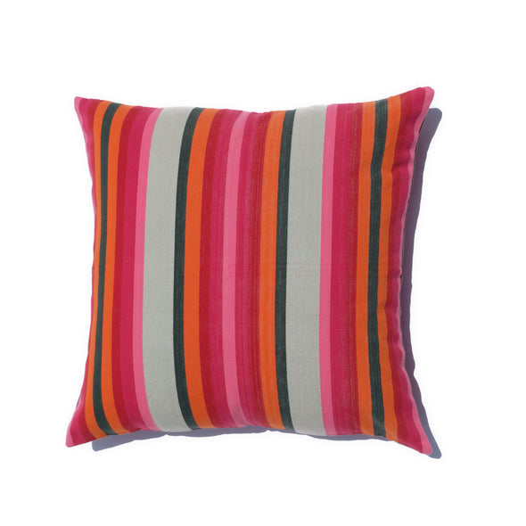 "Cotton Stripe Pillow 26"" Square - Pink, Orange, and Olive Stripe"