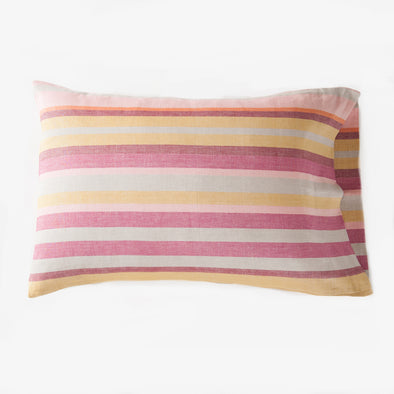 Linen and Cotton Burgundy Stripe Pillowcase