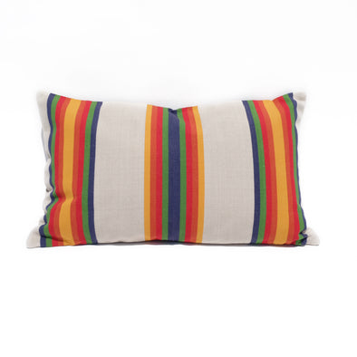 "Cotton Stripe Pillow 16"" x  26"" - Serape Stripe (Blue Center)"
