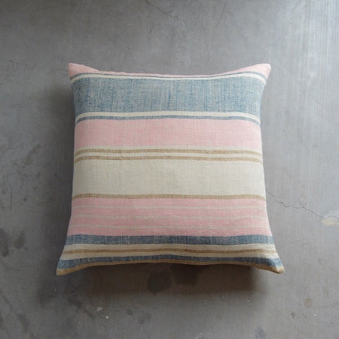 Linen Blanket Stripe Square Pillow - Marine Pink Camel