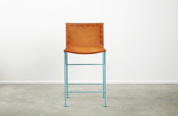 Saddle Leather Barstool Counter Height
