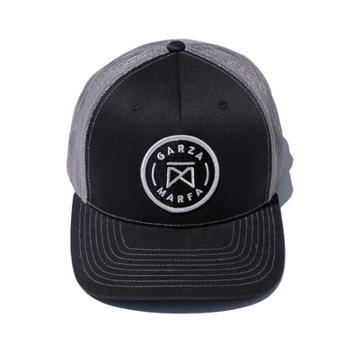 Garza Marfa Mesh Cap - Black/Grey Cap with Grey logo.