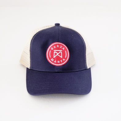 Garza Marfa Mesh Cap - Navy + Tan Cap with Red logo.