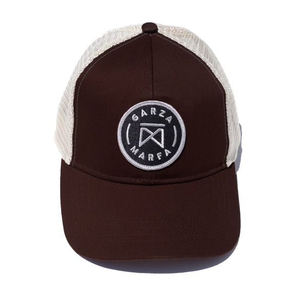 Garza Marfa Mesh Cap -Brown/Sand Cap with Grey logo.
