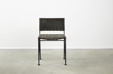 Saddle Leather Low-Back Dining Chair