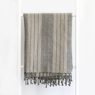 Linen / Cotton End on End Stripe Throw