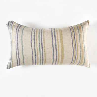 Linen Thin Stripe Bolster Pillow - Aqua, Olive, Blue
