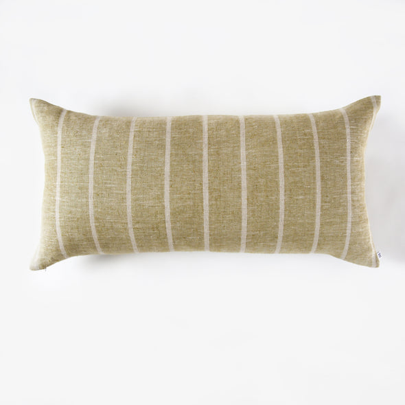 Linen Wide Stripe Bolster Pillow - Olive