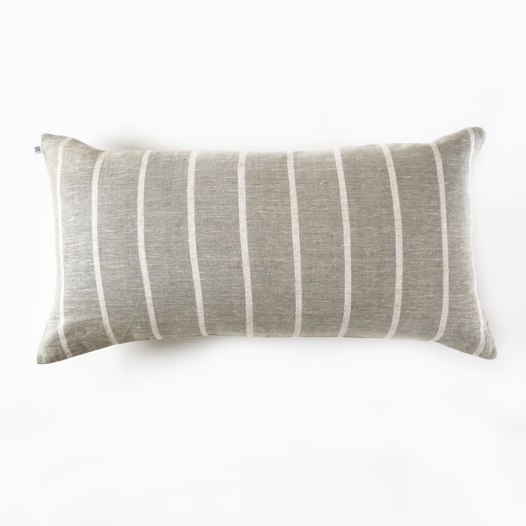 Linen Wide Stripe Bolster Pillow - Grey