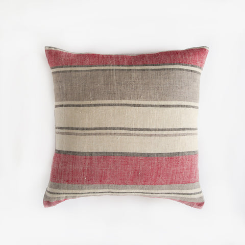 Linen Blanket Stripe Square Pillowcase - Red Grey Black