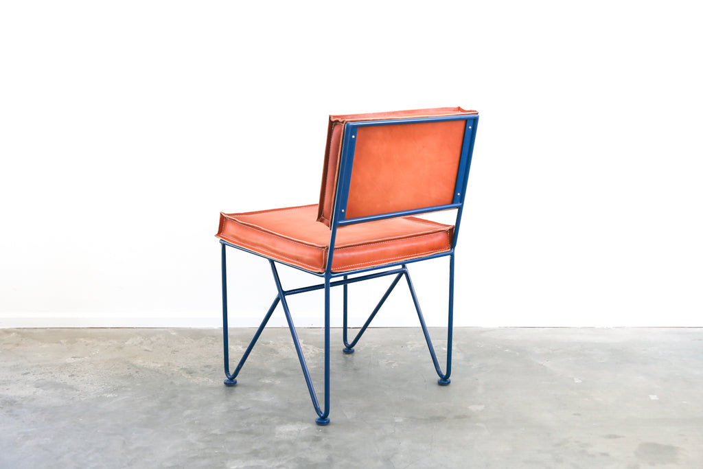 ... Upholstered Saddle Leather Low Back Dining Chair ...