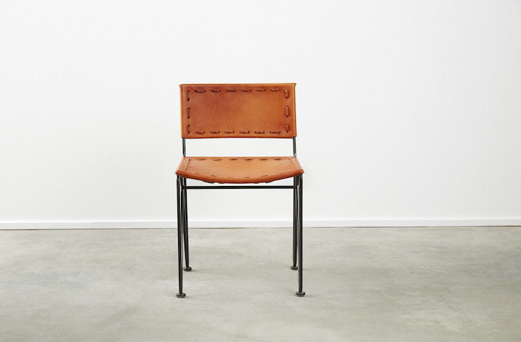 Saddle Leather Low Back Dining Chair Garza Marfa