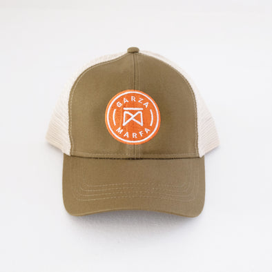 Garza Marfa Mesh Cap - Olive + Tan Cap with Orange logo.