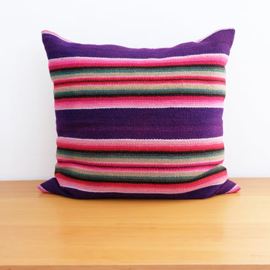 Bolivian Blanket Pillow: Deep Purple + Rosa (Pair Available)