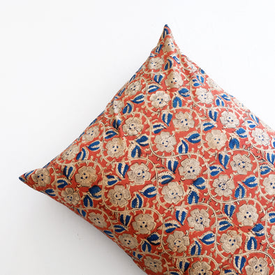 Kalamkari Pillowcase - Scarlet Flowers