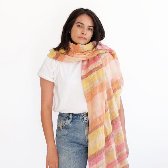 Desert Linen Oversized Scarf - Yellow