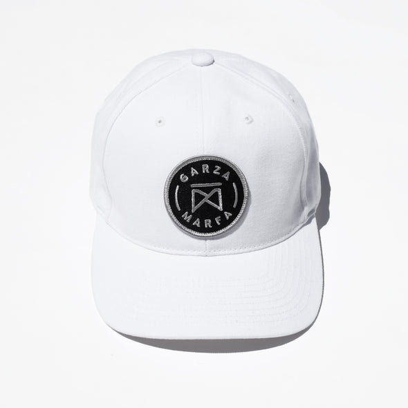 Garza Marfa Cap - White Cotton Cap with Grey logo.