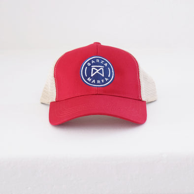 Garza Marfa Mesh Cap - Red + Tan Cap with Navy logo.