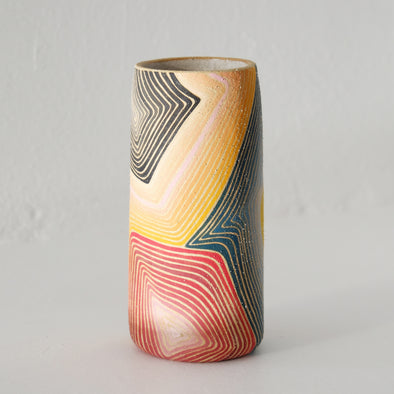 Rory Foster Vase: Orange Indigo Rose