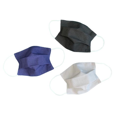 3-Pack 100% Cotton Reusable Pleated Face Mask - Adult