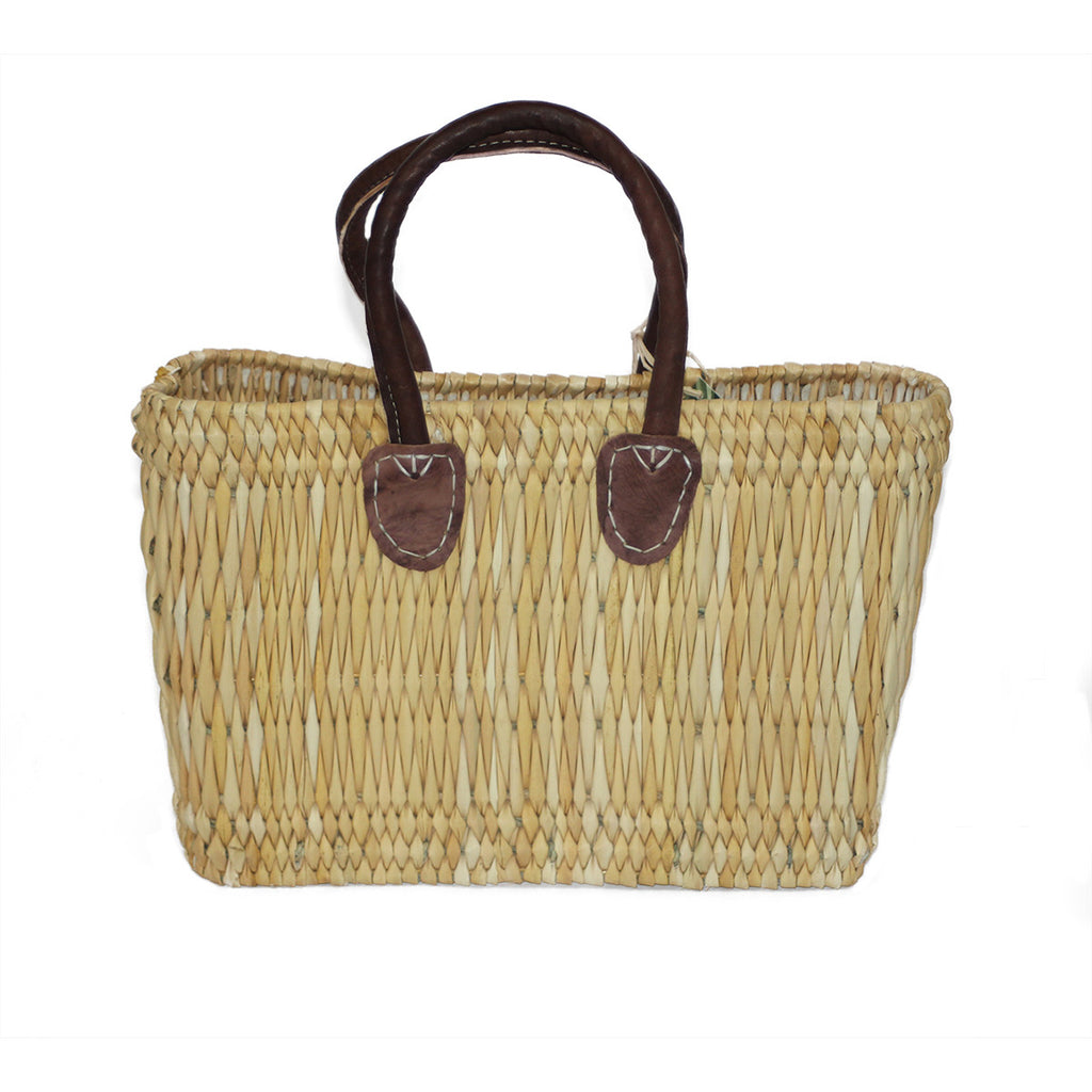 Small Bulrush Basket with Leather Handles - Natural